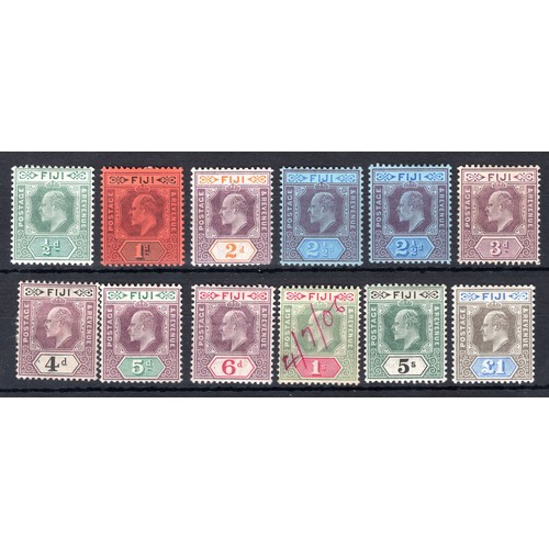 100 - <strong>Fiji</strong>, Edward VII, 1903, set to £1 (SG 104-114, 2½d (2) - Cat. £517.25), all mounted...
