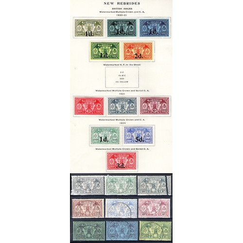 164 - <strong>New Hebrides</strong>, 1920-25, 20 values, 1920-21, 5 values (SG 30-34 - Cat. £17.75), 1921,...