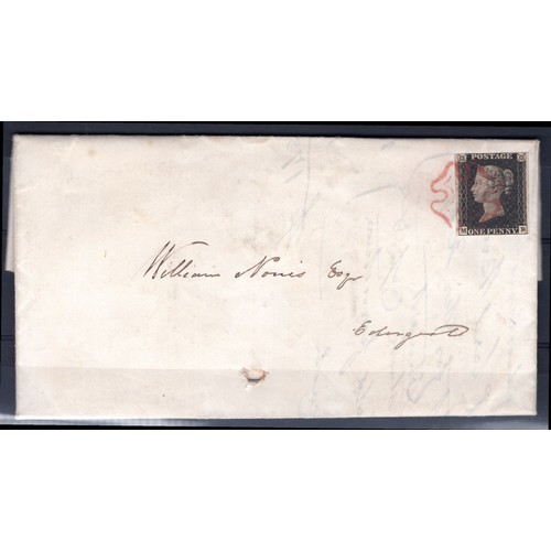 1 - <strong>Great Britain</strong>, Victoria, Postal Cover, 22 Jan 1841, 1d black cancelled with Maltese...