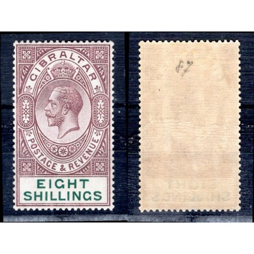 126 - <strong>Gibraltar</strong>, George V, 1924, 8/-, dull purple & green (SG 101 - Cat. £325.00), li...