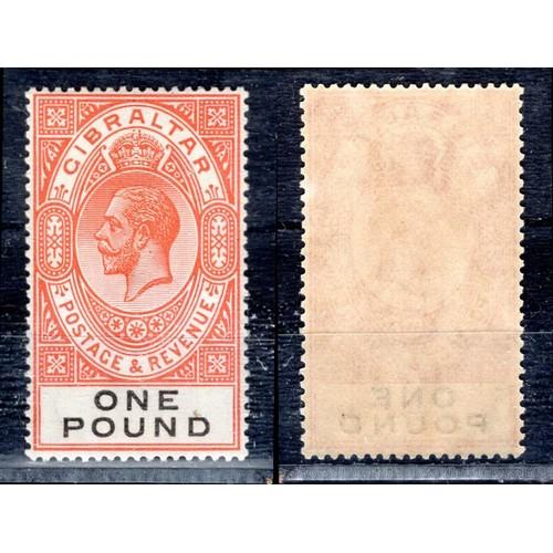 128 - <strong>Gibraltar</strong>, George V, 1927, £1, red-orange & black (SG 107 - Cat. £190), mint....