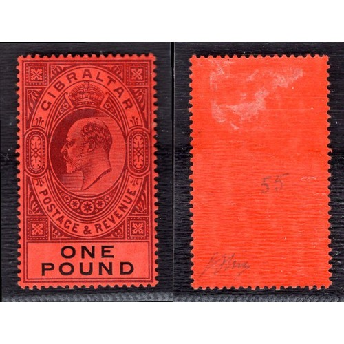 118 - <strong>Gibraltar</strong>, Edward VII, 1908, £1, deep purple & black/red (SG 64 - Cat. £650), l...