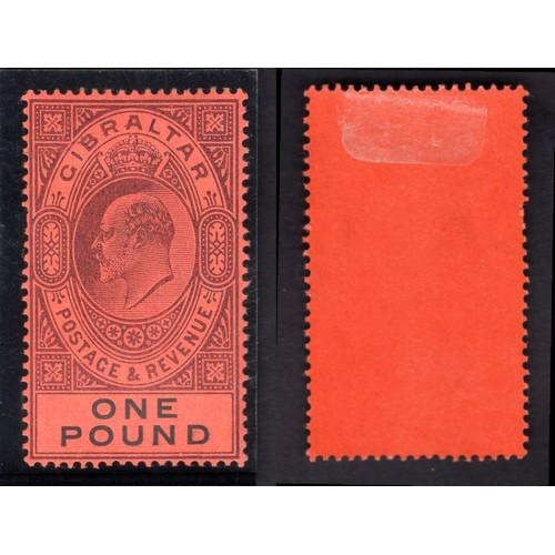 115 - <strong>Gibraltar,</strong> Edward VII, 1903, £1, dull purple & black/red (SG 55 - Cat. £650), m...