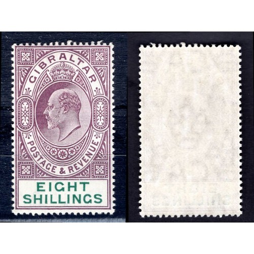 120 - <strong>Gibraltar</strong>, Edward VII, 1911, 8/-, purple & green (SG 74 - Cat. £250), lightly m...