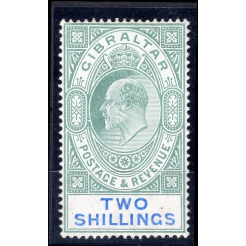 117 - <strong>Gibraltar</strong>, Edward VII, 1905, 2/- green & blue (SG 62 - Cat. £120), very lightly...