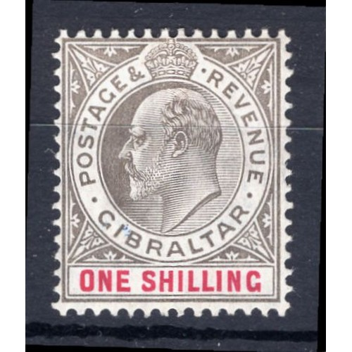 116 - <strong>Gibraltar</strong>, Edward VII, 1905, 1/-, black & carmine (SG 61 - Cat. £65.00), mounte...