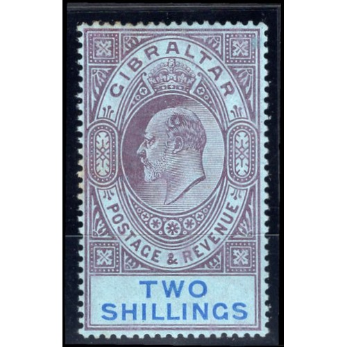 119 - <strong>Gibraltar</strong>, Edward VII, 1910, 2/-, purple & bright blue (SG 72 - Cat. £65.00), s...