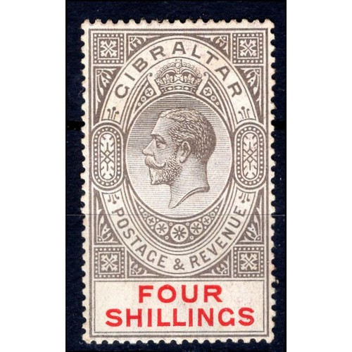 125 - <strong>Gibraltar</strong>, George V, 1924, 4/-, black & carmine (SG 100 - Cat. £70.00), lightly...