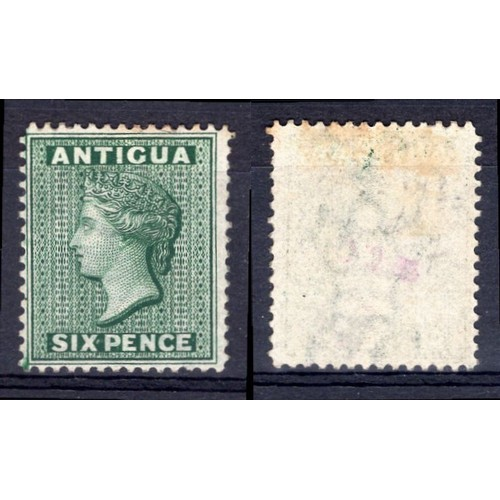 38 - <strong>Antigua</strong>, Victoria, 1876, 6d reversed watermark (SG 18x - Cat. £350), mint....
