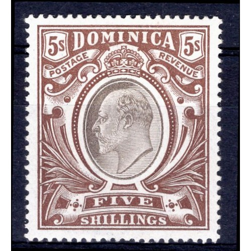 91 - <strong>Dominica</strong>, Edward VII, 1903, 5 shillings (SG 36 - Cat. £110), mint....