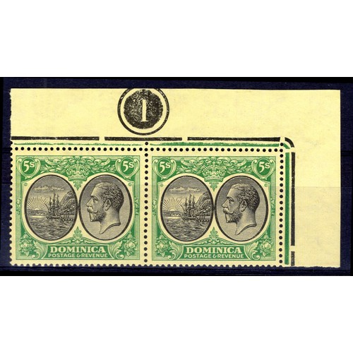 92 - <strong>Dominica</strong>, George V, 1923, 5 shillings pair (SG 88 - Cat.C£90.00), creasing, unmount...