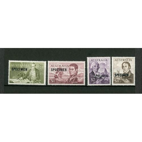 46 - <strong>Australia</strong>. 1966 Navigators, SPECIMEN high values, 75c, $1, $2 and $4 all overprinte...