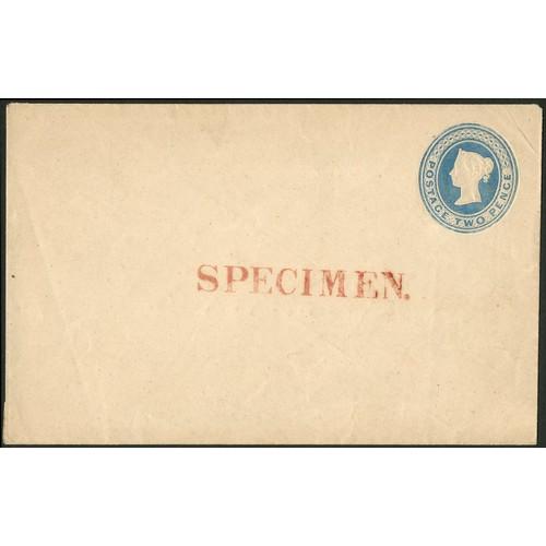 20 - <strong>Great Britain</strong>. 1841 April, 2nd blue postal stationery envelope, overprinted SPECIME...