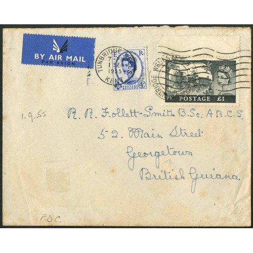 23 - <strong>Great Britain</strong>. 1955 1st September, £1 Waterlow and 4d, First Day of issue on Airmai...