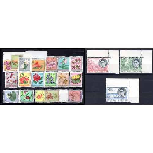 248 - <strong>Ruanda-Burundi</strong>, 1953, 'flowers', set less the 7 francs (SG 175-193 - Cat. £63.00), ...