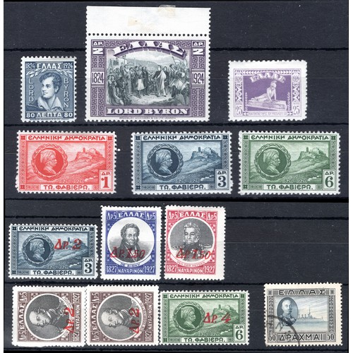 216 - <strong>Greece</strong>, 1924-1933, selection, 1924, 100th Anniversary death of Byron, set of 2 (SG ...