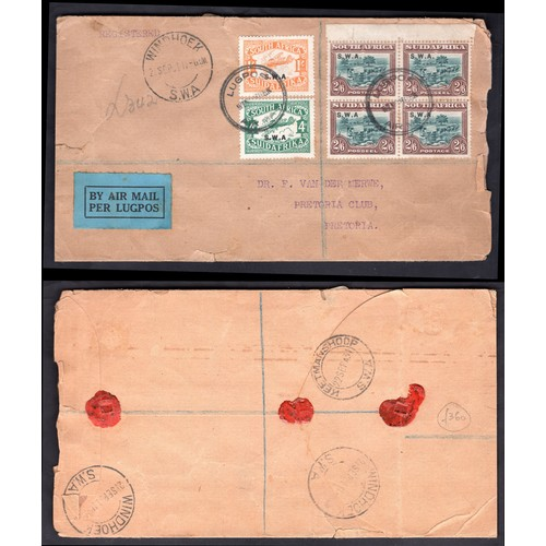 189 - <strong>South West Africa</strong>, 1927, 3 values cancelled on envelope, 1 shilling (SG 73 - Cat. £...