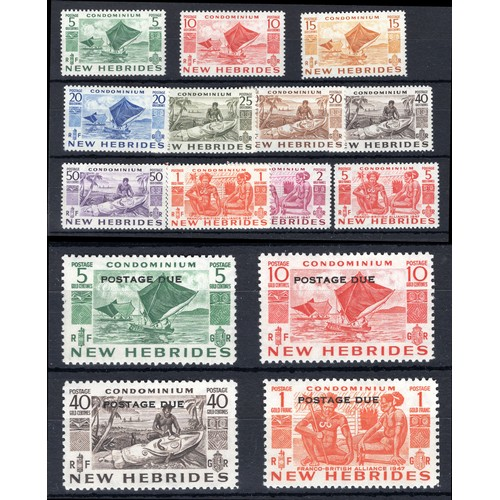 170 - <strong>New Hebrides</strong>, 1953, set of 11 (SG 68-78 - Cat. £30.80) mounted mint, & set of 4...