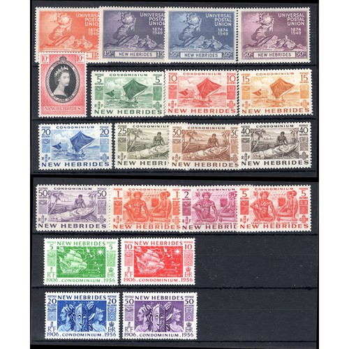 168 - <strong>New Hebrides</strong>, selection, 1949-1956, 75th anniversary Universal Postal Union, set of...