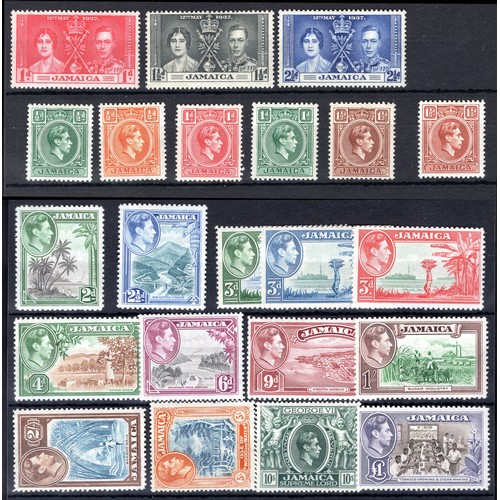 152 - <strong>Jamaica</strong>, Coronation set 1937 (SG 118-120 - Cat. £1.95) & set of 19, 1938 (SG 12...