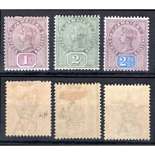 143 - <strong>Jamaica</strong>, 1889, set of 3 (SG 27, 28a & 29 - Cat. £44), mounted mint...