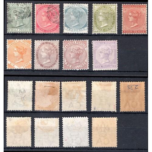 142 - <strong>Jamaica</strong>, 1883, part set. (SG 16, 18, 20, 21, 22, 23a, 24, 25 & 26 - Cat. £130),...