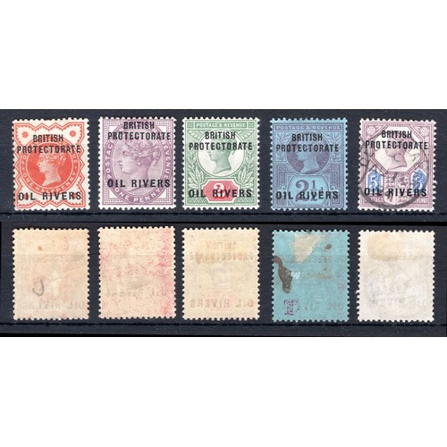 173 - <strong>Niger Coast Protectorate.</strong>Victoria, 1892, set of 6 less the 1/- (SG 1-5 - cat. £86....