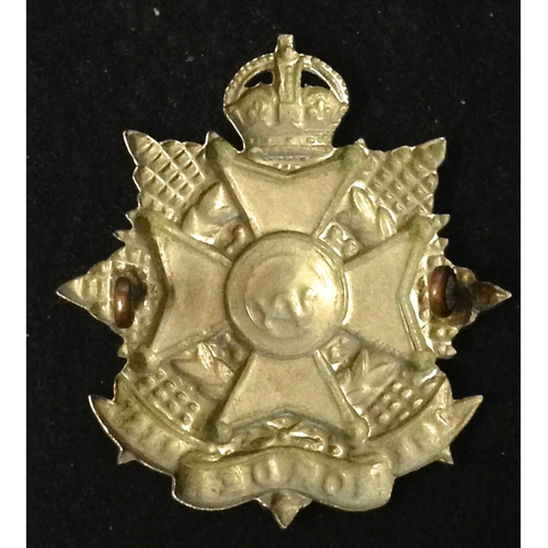 10 - <strong>Border Regiment / Militia, Kings Crown, white metal.</strong><br /><br />2 Lugs to rear...