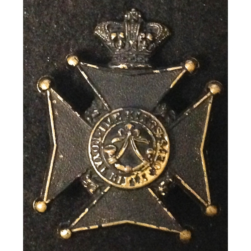 14 - <strong>Kings Royal Rifle Corps, Militia Battalion, Victoria crown.</strong><br /><br />Blackened Br...