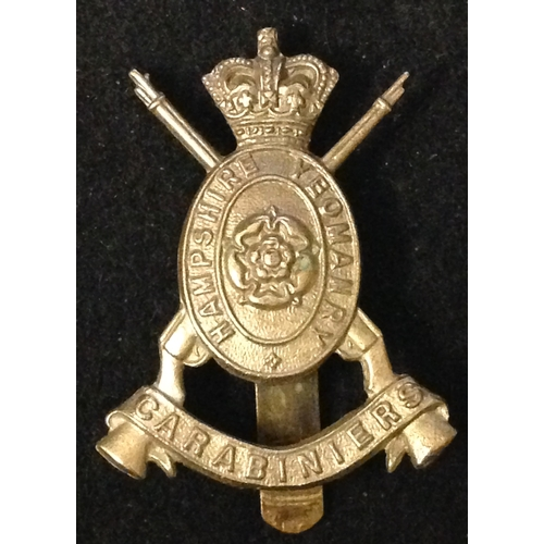 17 - Hampshire Yeomanry, Victoria Crown.<br /><br />Brass with slider to rear....