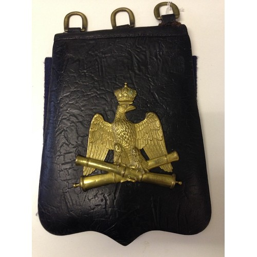 43 - <strong>Imperial French Sabretache - Artillery Officer.<br /><br /></strong>Black leather, carrying ...