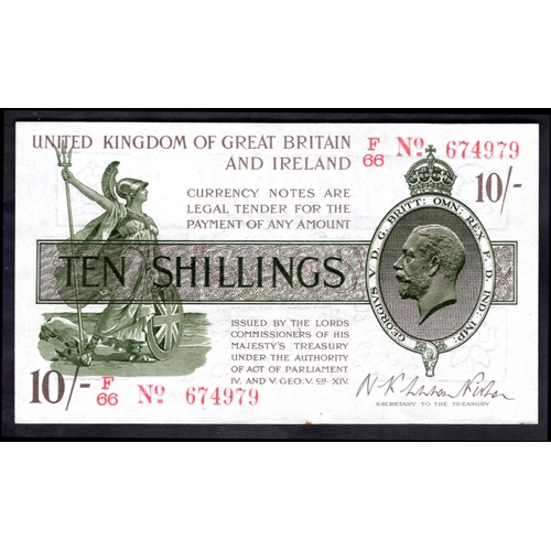 13 - Banknotes, Treasury, Warren Fisher, First Issue, 10 shillings, (1919), #F/66 674979 (Dugg. T26; WPM ...