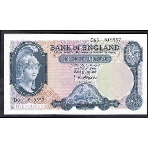 36 - Banknotes, Bank of England, O'Brien, £5, (1957), #D85 819557 (Dugg.277; WPM 371a). Very slight denti...