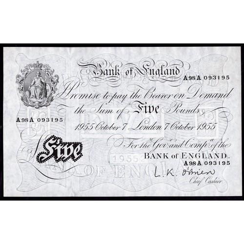 34 - Banknotes, Bank of England, O'Brien, £5, London, 7-10-1955, #A98A 093195 (Dugg. B276; WPM 345). Penu...
