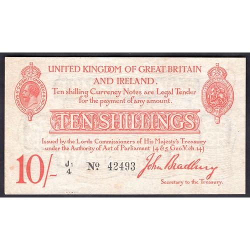 6 - Banknotes, Treasury, Bradbury, Second Issue, 10 shillings, (1915), #J1/4 42493 (Dugg. T12; WPM 349a)...