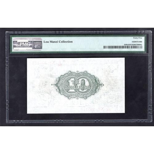 10 - Banknotes, Treasury, Bradbury, Third Issue, 10 shillings, (1918), #B34 955173 (Dugg.T20; WPM 350b). ...