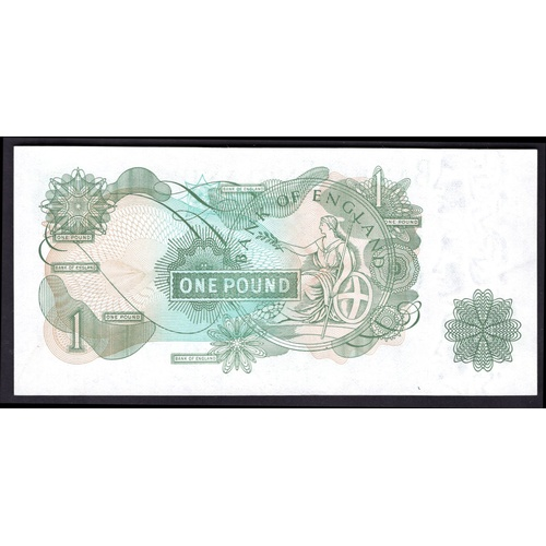 39 - Banknotes, Bank of England, Page, £1, (1970), fancy number, serial number #HN02 888188 (Dugg. B322; ...