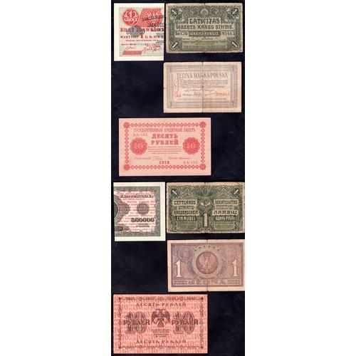 3 - Banknotes, Small group of East European notes, 1918-47. Latvia, 1 rubli, 1919, holes etc, Fine, Pola...