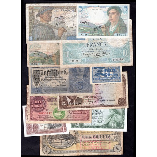 1 - Banknotes, Group of world notes, includes China, 5 yuan, 1945, #WF 478001 (WPM 388), VF-EF, Belgium,...