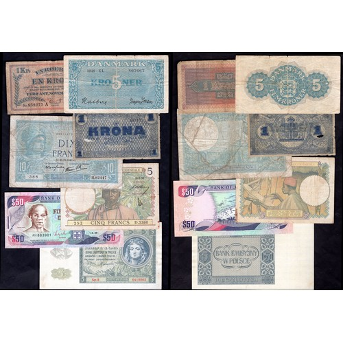 2 - Banknotes: Small group of world notes, 1940s-1990s, allow for tears, holes, pressing etc. Denmark, 5...