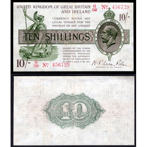 12 - Banknotes, Treasury, Warren Fisher, First Issue, 10 shillings, (1919), # G59 456729 (Dugg. T25; WPM ...