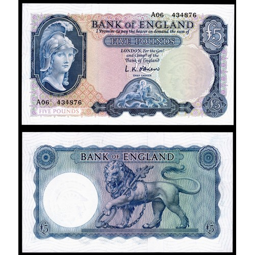 35 - Banknotes, Bank of England, O'Brien, £5, (1957), first series, # A06 434876 (Dugg. B277; 371a). EF....