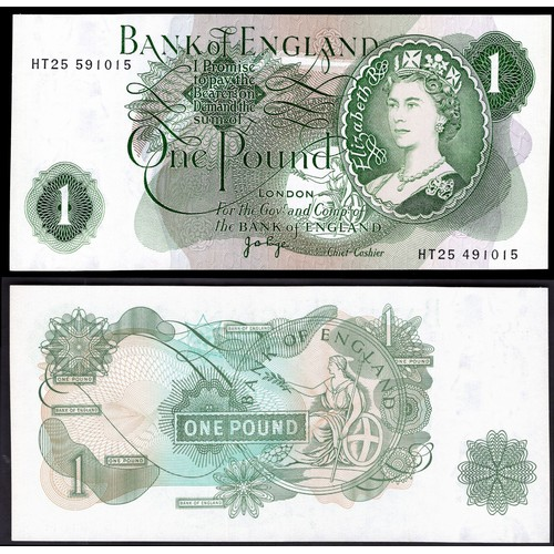 41 - Banknotes, Bank of England, Page, £1, (1970), mismatched serial numbers, # HT25 591015/491015 (Dugg...