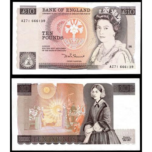 44 - Banknotes, Bank of England, Somerset, £10, (1984), missing watermark, # AZ71 666139 (Dugg. B348; WPM...
