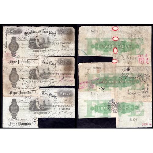 53 - Banknotes, Darlington Bank (3), Durham Bank (1), Stockton on Tees Bank (3) (Jonathan Backhouse), £5,...