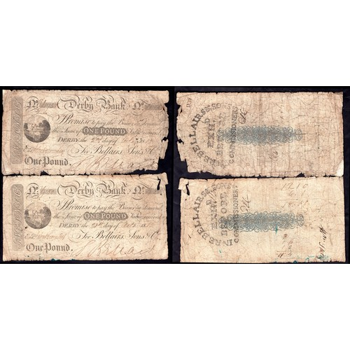 54 - Banknotes,Derby Bank (Bellairs, Sons & Co), £1 (5), Derby 18[11-14] (Outing 683). Well circulat...