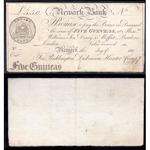 57 - Banknotes,Newark Bank (Pocklington, Dickinson, Hunter & Compy), 5 guineas proof on paper (or un...