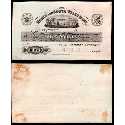 59 - Banknotes: North & South Wales Bank (The Director & Company), uncut proof on card, £5, Holyw...