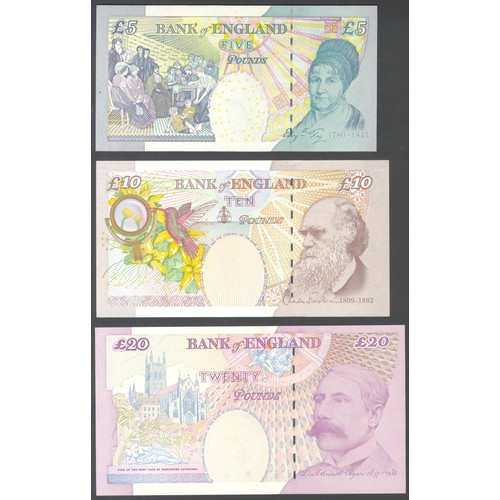 47 - Banknotes, Bank of England, Lowther, £5 HA01, £10 AA01 & £20 AA01 (1999-2002), matching serial n...