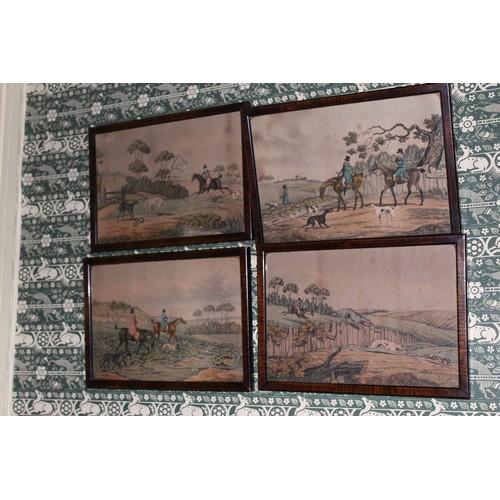 10 - Four Hare Hunting Prints. 280mmW x 200mmH...